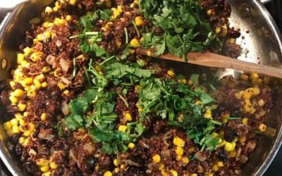 30 minute meal #1 Quinoa with black beans and corn with a side of kale
